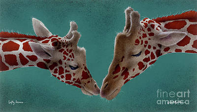 Giraffe Painting - Lofty Lovers... by Will Bullas