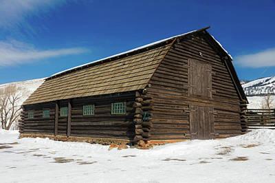 Absaroka Photograph - Log Barn In Yellowstone by Loc