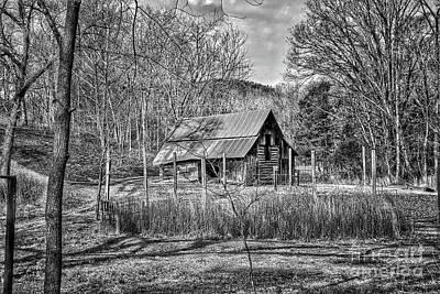 Keith Richards - Log Barn with Garden Bench B by John Myers