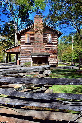 Photograph - Log Cabin And Wooden Fence At Ninety Six National Historic Site 2 by Lisa Wooten