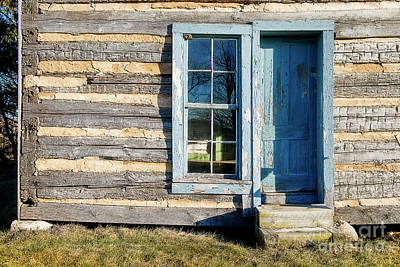 Photograph - Log Cabin Blue Door by David Arment
