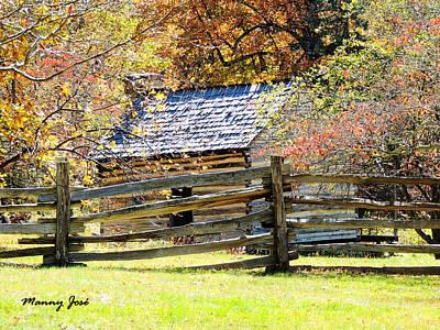 Split Rail Fence Photograph - Log Cabin Blue Ridge Parkway Va by Manny Jose