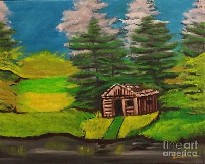 Painting - Log Cabin by Brindha Naveen