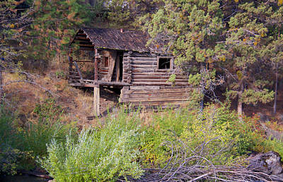 Photograph - Log Cabin By A River by Susan Crossman Buscho