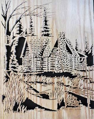 Log Cabin By Lake Original by Kris Martinson