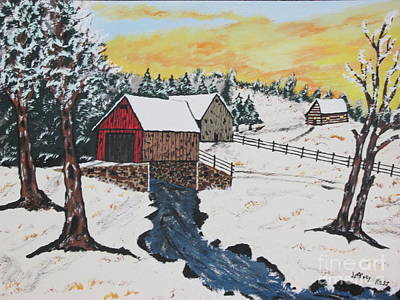 Log Cabin Covered Bridge Original by Jeffrey Koss