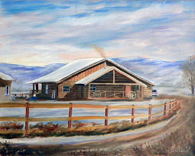 Log Cabin House In Winter Art Print