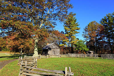 Pucketts Photograph - Log Cabin In The Fall by Jill Lang