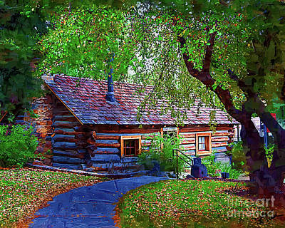 Digital Art - Log Cabin In The Woods by Kirt Tisdale