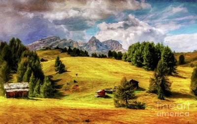 Log Cabin Landscape By Sarah Kirk Art Print