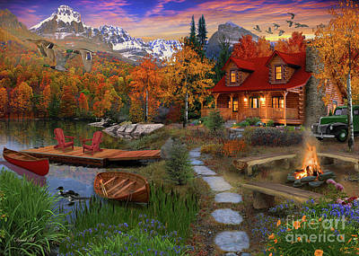 Canoe Digital Art - Log Cabin by David Maclean