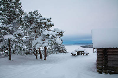 Photograph - Log Cabin On A Mountain Overlooking An Ocean Bay In Winter by Ulrich Kunst And Bettina Scheidulin