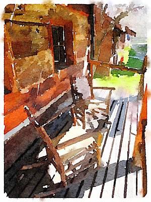 Digital Art - Log Cabin  by Shannon Grissom