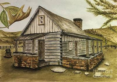 Log Cabin Art Print by Ted Reeves