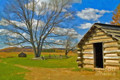 Print featuring the photograph Log Cabin Valley Forge Pa by David Zanzinger