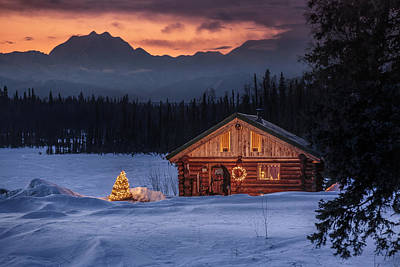 Christmas Holiday Scenery Photograph - Log Cabin With Christmas Tree by Jeff Schultz