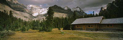 Log Cabins Photograph - Log Cabins On A Mountainside, Yoho by Panoramic Images