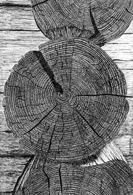Old Cabins Drawing - Log Ends by Ed Einboden