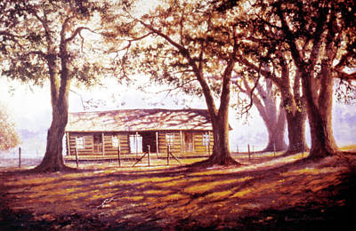 Painting - Log House On 421 by Randy Welborn