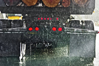 Photograph - Log Truck In The Rain by Adria Trail