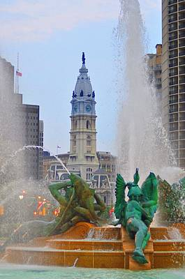 Water Fountain Digital Art - Logan Circle Fountain With City Hall In Backround 3 by Bill Cannon