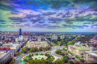 Photograph - Logan Circle To The Museum Beautiful Panorama  by David Zanzinger