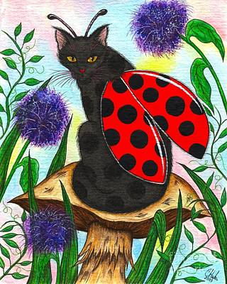 Art Print featuring the painting Logan Ladybug Fairy Cat by Carrie Hawks