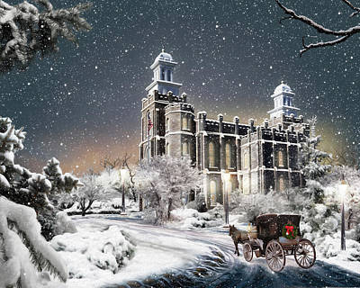 Temple Digital Art - Logan Temple - Old Time Christmas by Brent Borup