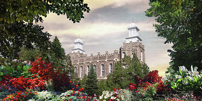 Lds Painting - Logan Temple - Summer by Brent Borup