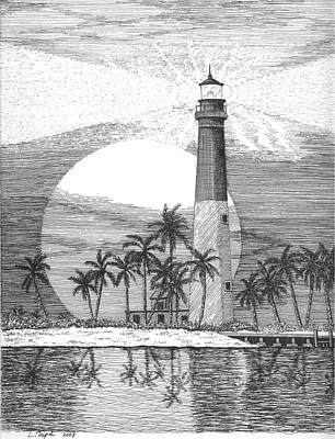 Drawing - Loggerhead Key Lighthouse by Lawrence Tripoli