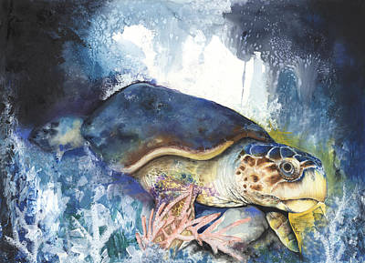 African-american Mixed Media - Loggerhead Sea Turtle by Anthony Burks Sr