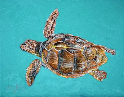 Painting - Loggerhead Turtle Study by Mike Jenkins
