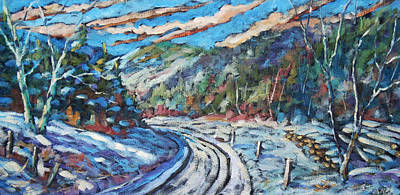 Winter Scene For Sale Painting - Loggers Road  by Richard T Pranke