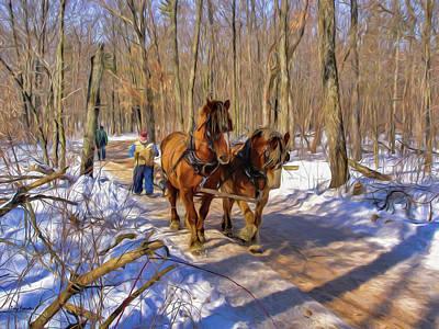 Logging Horses 1 Art Print by Trey Foerster