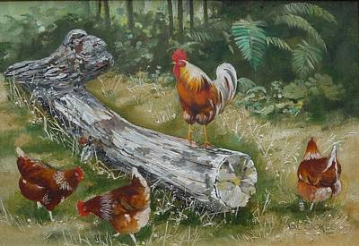 Big Rooster Painting - Logging On by Val Stokes