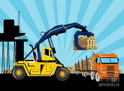Logging Truck Art Print by Aloysius Patrimonio