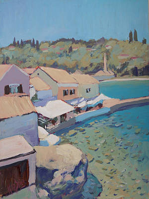 Painting - Loggos Pier View by Nop Briex