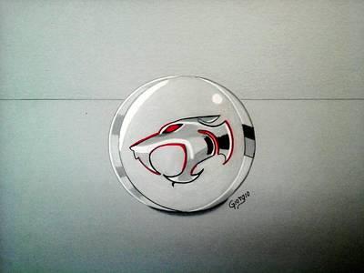 Thundercats Drawing - Logo Thundercats Glass 3d by Giorgio Valencia