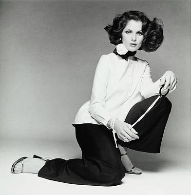 Short Hair Photograph - Lois Chiles Wearing An Over-blouse And Pants by Francesco Scavullo