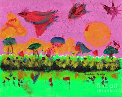 L'oiseau Couleur Du Temps Art Print by Dominique Fortier