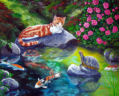 Camellia Painting - Loki Meets A Turtle by Laura Iverson