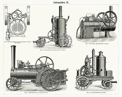 Steampunk Drawings - Lokomobilen, engine train and its compartments by Unknown