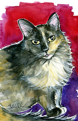 Painting - Lola - Long Haired Fluffy Cat Portrait by Dora Hathazi Mendes