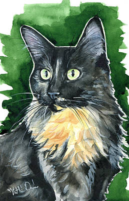 Painting - Lola - Long Haired Tortoiseshell Cat Portrait by Dora Hathazi Mendes