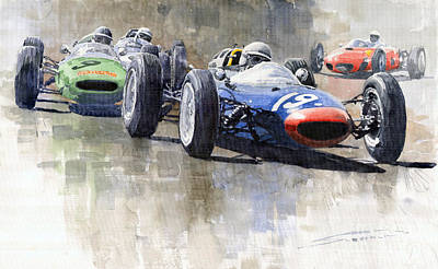 Ireland Painting - Lola Lotus Cooper Ferrari Datch Gp 1962 by Yuriy  Shevchuk