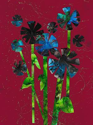Collage Painting - Lollipop Flowers by Louise Adams