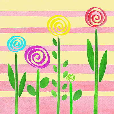 Alphabet Flash Cards Painting - Lollipop Garden by Irina Sztukowski