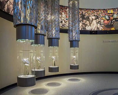 Photograph - Lombardi Trophy Lineup At Packers Hall Of Fame by Bill Pevlor