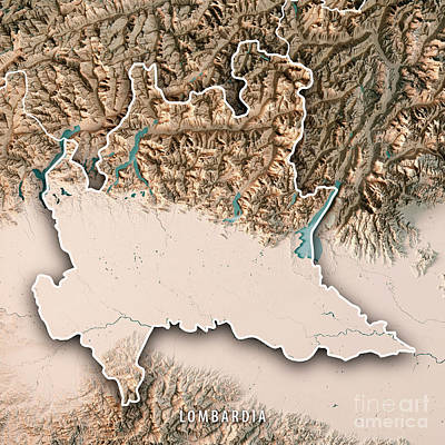 Lombardia State Italy 3d Render Topographic Map Neutral Border Art Print