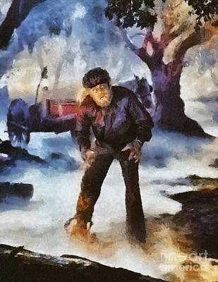 Wolfman Painting - Lon Chaney Jr, As The Wolfman by Mary Bassett